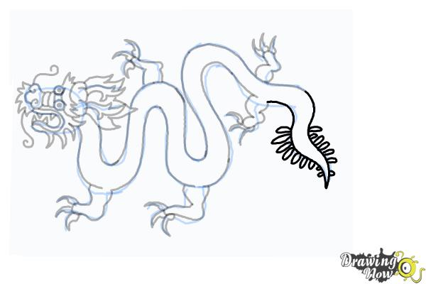 How to Draw a Chinese Dragon Body - Step 19