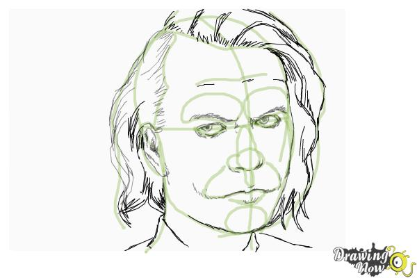How to draw heath ledger as the joker from dark knight step 8