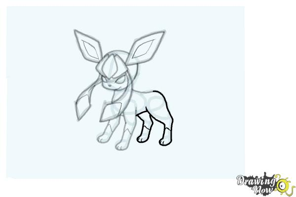 How to Draw Glaceon from Pokemon - Step 13