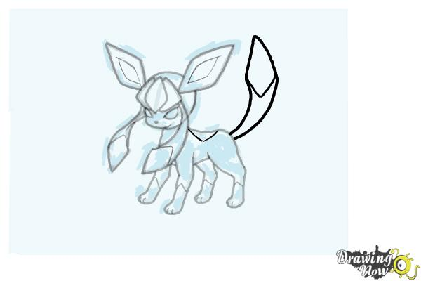 How to Draw Glaceon from Pokemon - Step 14