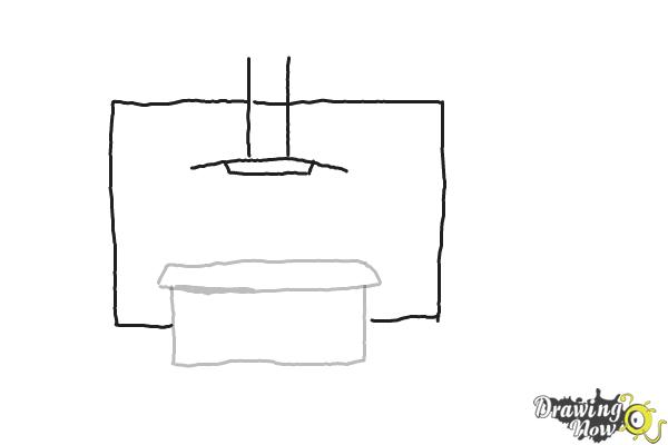 how to draw a kitchen step by step