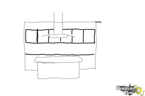 How to Draw a Kitchen - Step 3