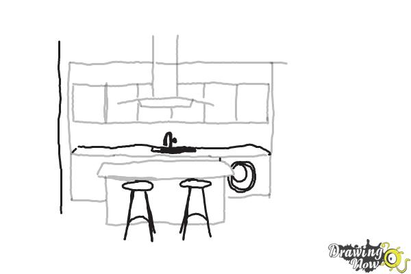 Simple Kitchen Drawing how to draw a kitchen | drawingnow