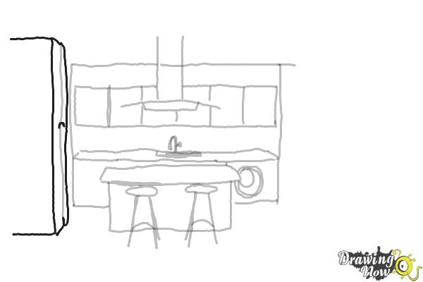 How to Draw a Kitchen - Step 5