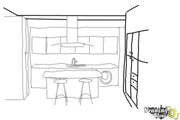 How to Draw a Kitchen - Step 6