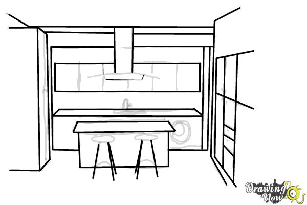 How to Draw a Kitchen - Step 7