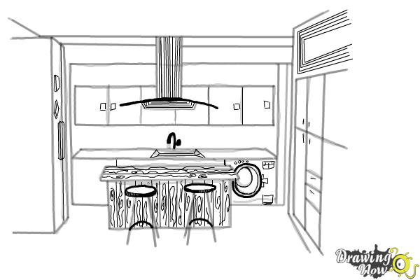 How to Draw a Kitchen - Step 8