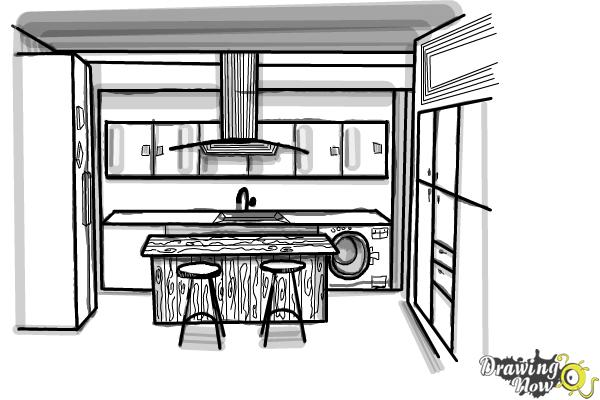 Line Drawing Kitchen : How to draw a kitchen drawingnow